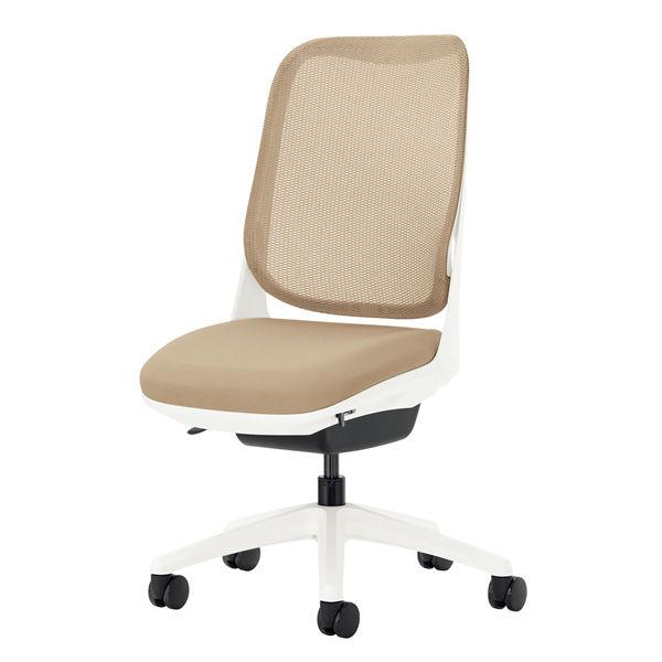 ライオン事務器 オフィスチェアー RIDE アームレスタイプ サンドベージュ 背フレーム色:ホワイト 脚ベース:ホワイト