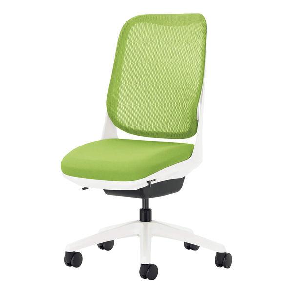 ライオン事務器 オフィスチェアー RIDE アームレスタイプ アップルグリーン 背フレーム色:ホワイト 脚ベース:ホワイト
