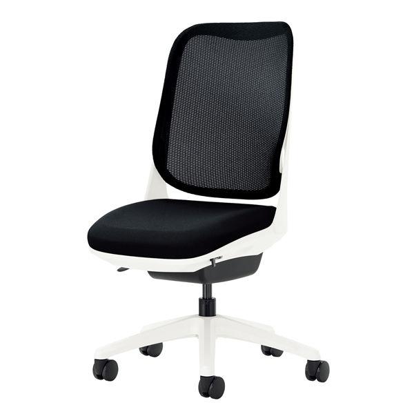 ライオン事務器 オフィスチェアー RIDE アームレスタイプ ブラック 背フレーム色:ホワイト 脚ベース:ホワイト