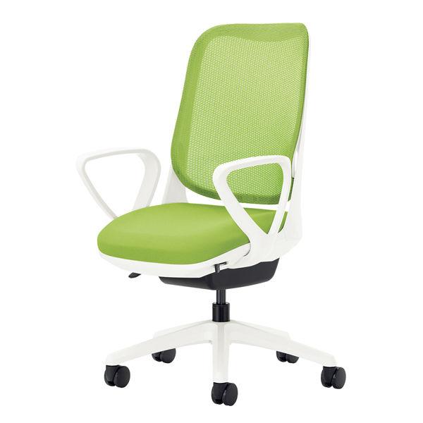 ライオン事務器 オフィスチェアー RIDE サークルアームタイプ アップルグリーン 背フレーム色:ホワイト 脚ベース:ホワイト