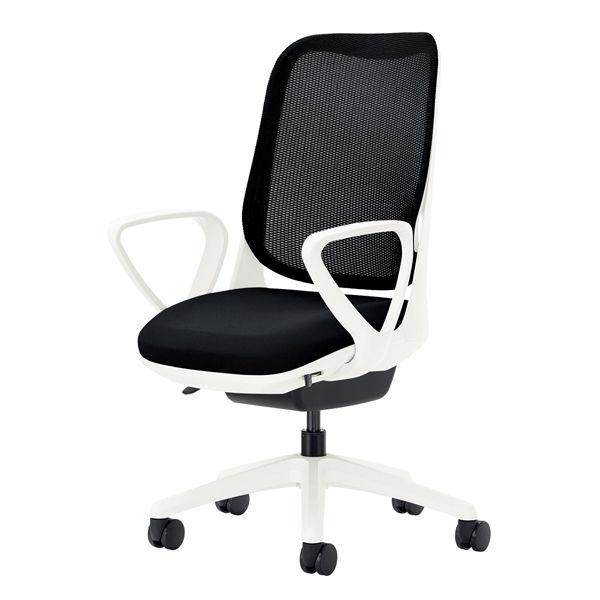 ライオン事務器 オフィスチェアー RIDE サークルアームタイプ ブラック 背フレーム色:ホワイト 脚ベース:ホワイト
