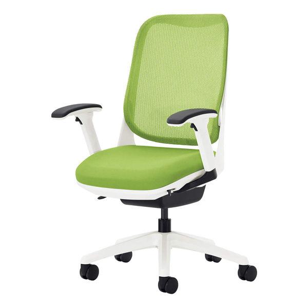 ライオン事務器 オフィスチェアー RIDE フレキシブルアームタイプ アップルグリーン 背フレーム色:ホワイト 脚ベース:ホワイト