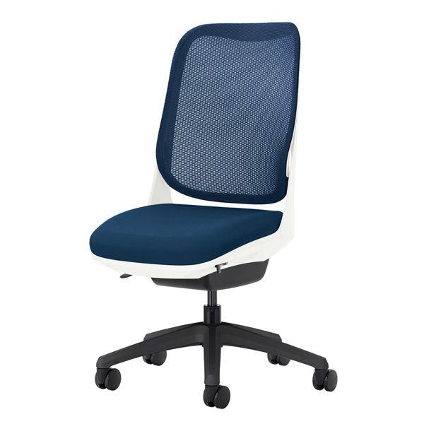 ライオン事務器 オフィスチェアー RIDE アームレスタイプ コズミックブルー 背フレーム色:ホワイト脚ベース:ブラック
