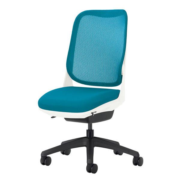 ライオン事務器 オフィスチェアー RIDE アームレスタイプ ターコイズブルー 背フレーム色:ホワイト脚ベース:ブラック