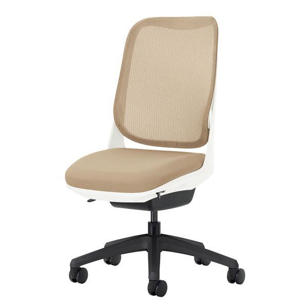 ライオン事務器 オフィスチェアー RIDE アームレスタイプ サンドベージュ 背フレーム色:ホワイト脚ベース:ブラック