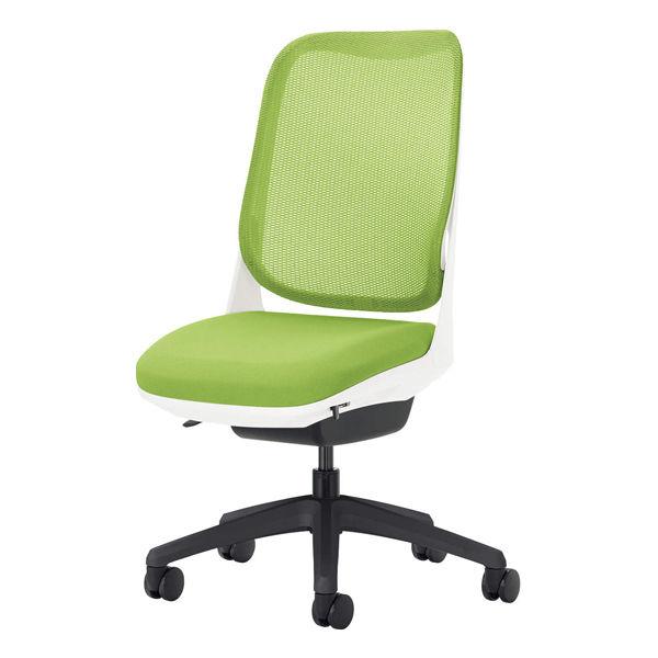 ライオン事務器 オフィスチェアー RIDE アームレスタイプ アップルグリーン 背フレーム色:ホワイト脚ベース:ブラック