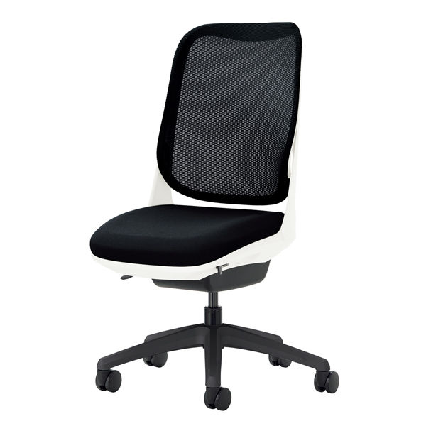 ライオン事務器 オフィスチェアー RIDE アームレスタイプ ブラック 背フレーム色:ホワイト脚ベース:ブラック