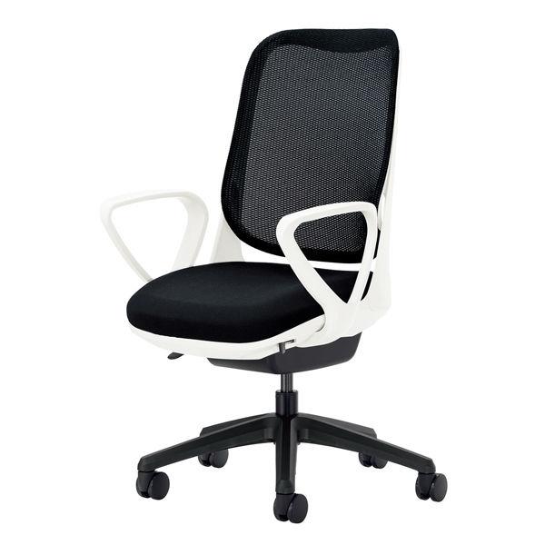 ライオン事務器 オフィスチェアー RIDE サークルアームタイプ ブラック 背フレーム色:ホワイト脚ベース:ブラック