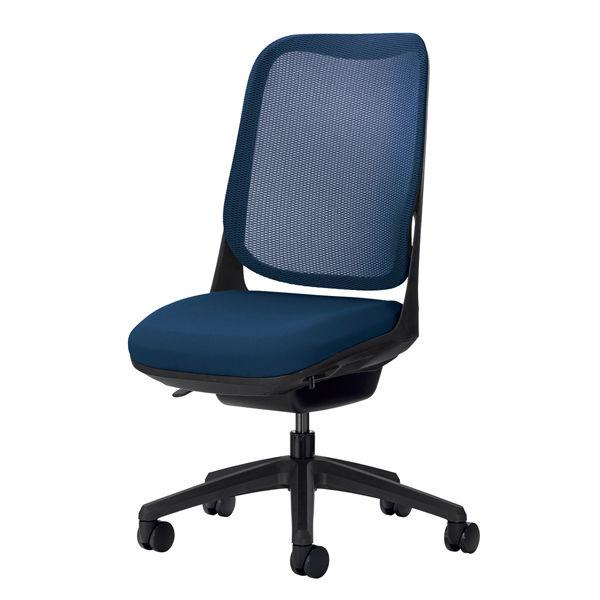 ライオン事務器 オフィスチェアー RIDE アームレスタイプ コズミックブルー 背フレーム色:ブラック脚ベース:ブラック