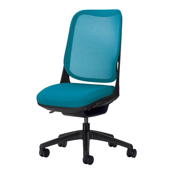 ライオン事務器 オフィスチェアー RIDE アームレスタイプ ターコイズブルー 背フレーム色:ブラック脚ベース:ブラック