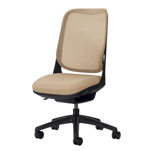 ライオン事務器 オフィスチェアー RIDE アームレスタイプ サンドベージュ 背フレーム色:ブラック脚ベース:ブラック