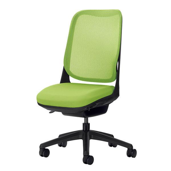 ライオン事務器 オフィスチェアー RIDE アームレスタイプ アップルグリーン 背フレーム色:ブラック脚ベース:ブラック
