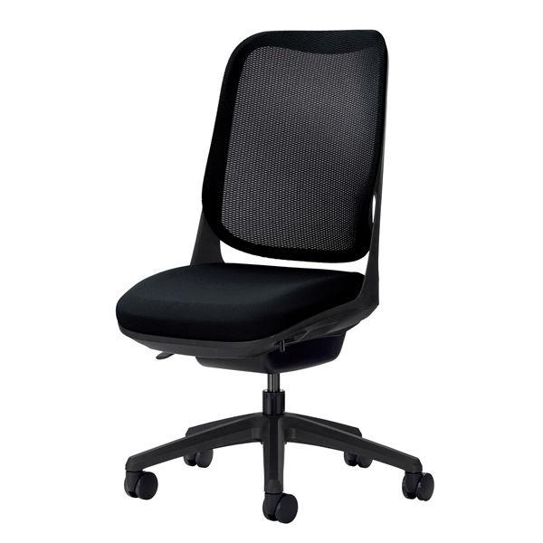 ライオン事務器 オフィスチェアー RIDE アームレスタイプ ブラック 背フレーム色:ブラック脚ベース:ブラック
