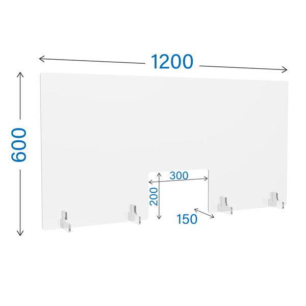 R・Fヤマカワ アクリル衝立 窓付き クリアタイプ W1200×D150×H600mm AP-1260