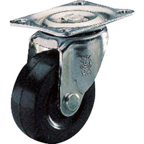 ユーエイ プレート式ゴム車 プレート式ゴムキャスター自在50径 1個 G50R