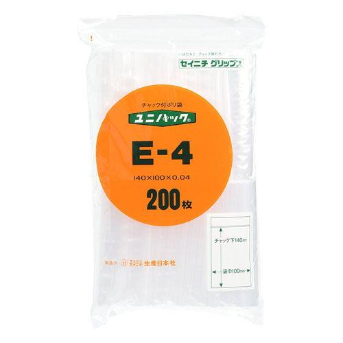 セイニチ チャック付きポリ袋 「ユニパック」 140×100×0.04 200枚入 E-4