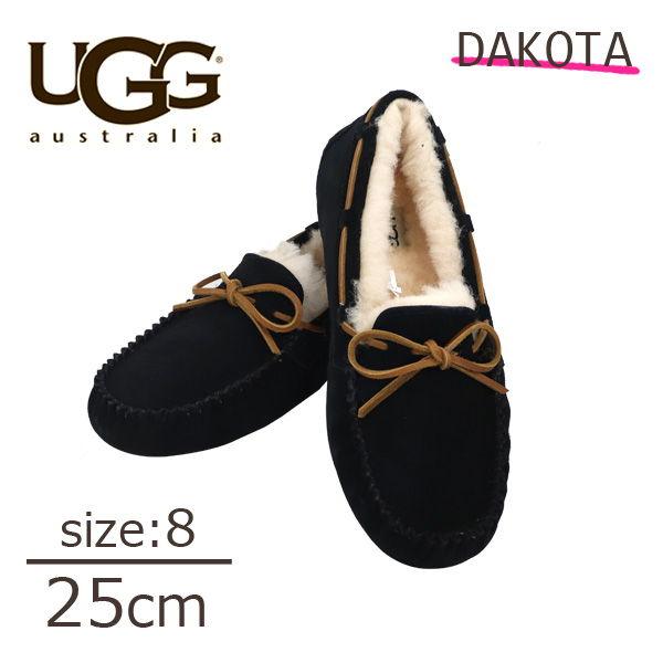 UGG アグ ダコタ ムートンシューズ モカシンシューズ ウィメンズ ブラック 8(25cm) 1107949 Dakota