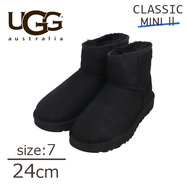 UGG クラシックミニ II ムートンブーツ ウィメンズ ブラック 7 24cm