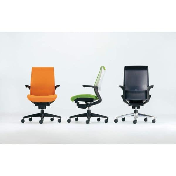 コクヨ オフィスチェア M4 エムフォー 樹脂脚 固定肘 固定肘 ホワイトシェル CR-G2201F6 マンダリンオレンジ