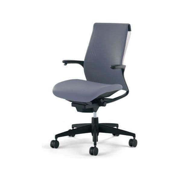 コクヨ オフィスチェア M4 エムフォー 樹脂脚 固定肘 固定肘 ホワイトシェル CR-G2201F6 ソフトグレー